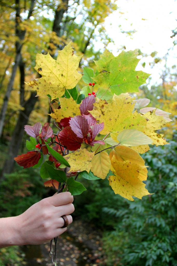 autumn leaf bouquet and wooden ring